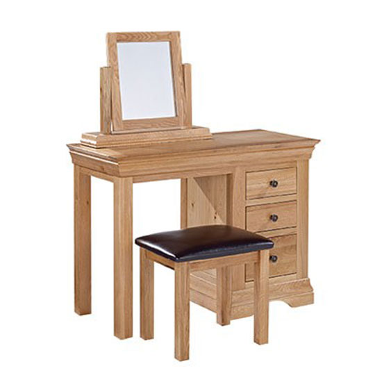 Wellington Solid Oak 2 Drawer Dressing Table + Mirror + Stool