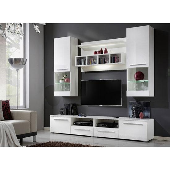 Valeria living room set in white gloss and matt with led lig - White gloss living room furniture sets ...