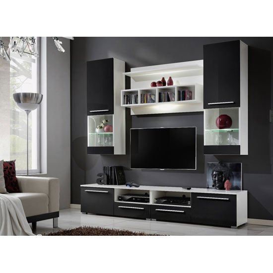 Black high gloss living room furniture and 5 perks it offers for Table sejour conforama