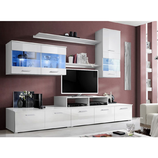Ashton Living Room Set In White High Gloss With Lighting
