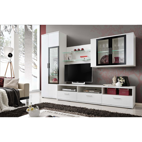 Read more about Westfield living room set in white and black with led light