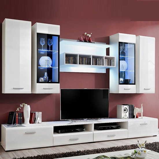 Read more about Alexa living room set in white high gloss with lighting