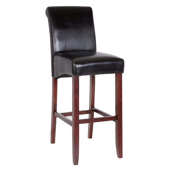 Monte Carlo High Bar Chair In Black Faux Leather With Wenge Legs