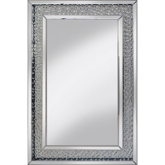 Rosalie Wall Mirror Large In Silver With Glass Crystals