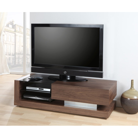Grace LCD TV Stand In Walnut With Black Glass And 1 Drawer