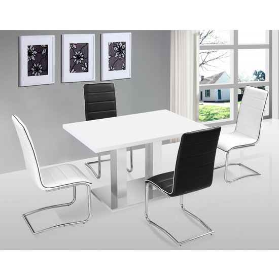 Walton High Gloss Dining Table Set