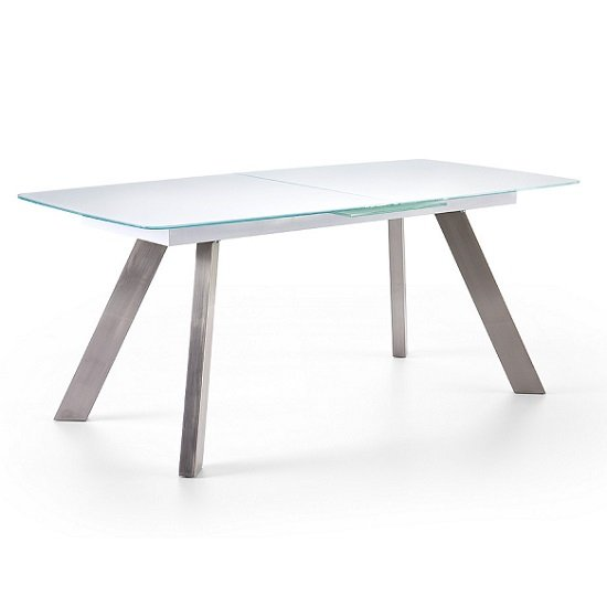 Walker Extendable Glass Dining Table In White