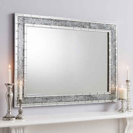 Vessel wall mirror rectangular in crackle glass with grey for Long grey wall mirror