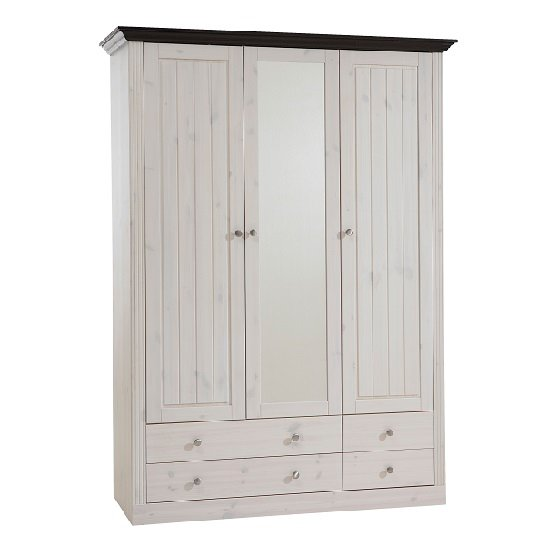 Read more about Monika mirrored wardrobe in white wash solid pine with 3 doors