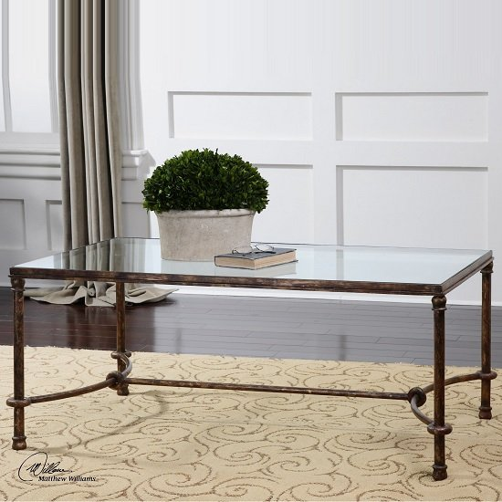Mannington Coffee Table In Clear Glass With Metal Frame