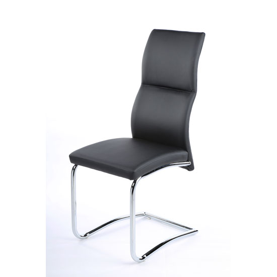 Palma Dining Chair In Black Faux Leather With Chrome Base