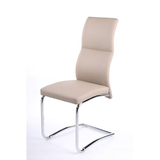 Palma Dining Chair In Taupe Faux Leather With Chrome Base