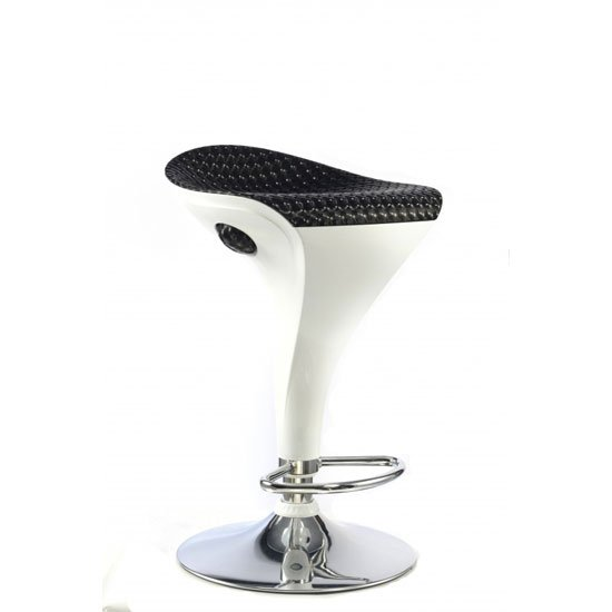 Welford Black And White Gloss Finish Bar Stool With Chrome Base