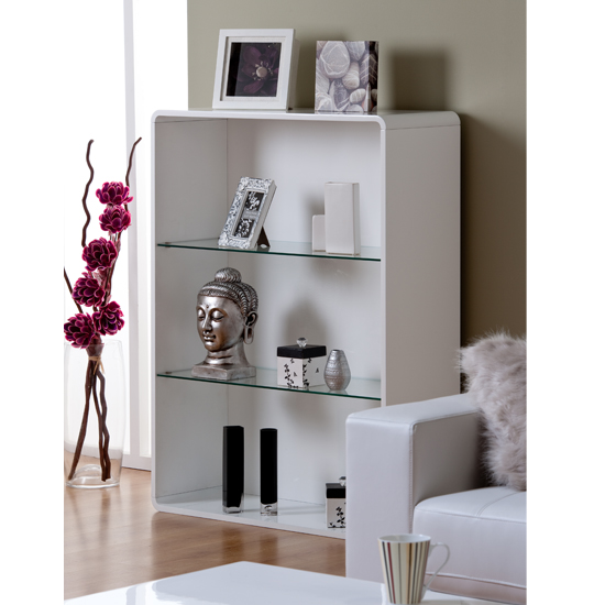 Toscana Bookcase In White High Gloss With  Compartments