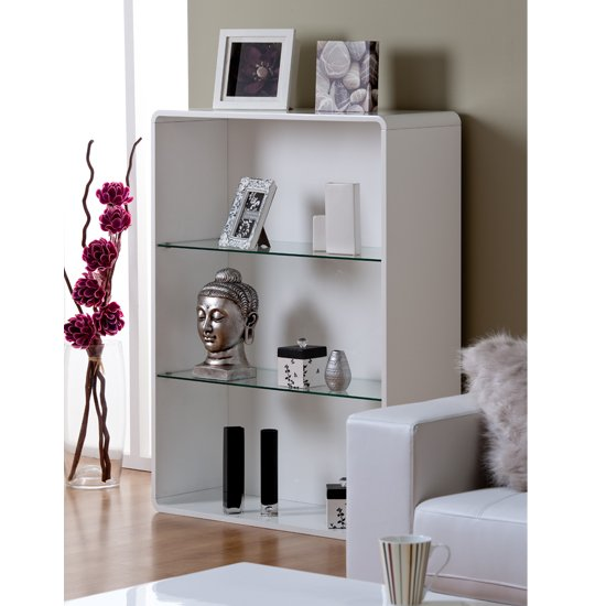 Toscana Bookcase In White High Gloss With 3 Compartments