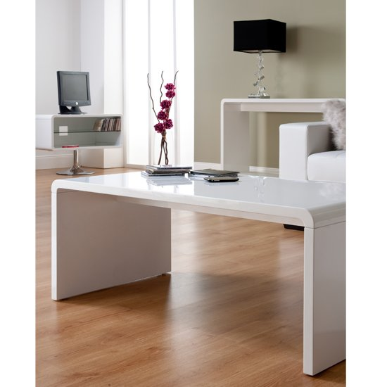 New Modern High Gloss White Rectangle Coffee Table Living: Toscana White High Gloss Coffee Table TOS01 15332 Furniture