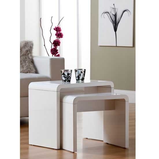 White High Gloss Side End Square 2 Seats Of Coffee Table: Odessa 5 Drawer Lowboard Tv Stand In High Gloss White With L