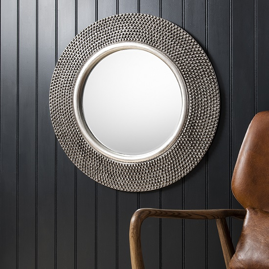 Whitton Wall Mirror Round With Bobble Effect In Pewter