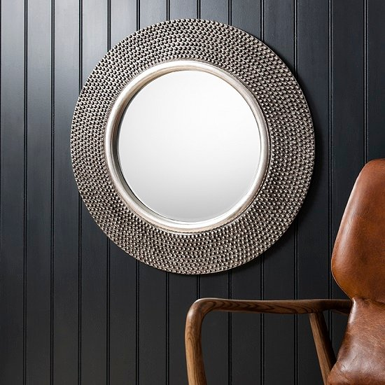 Whitton wall mirror round with bobble effect in pewter for Large round mirror for living room