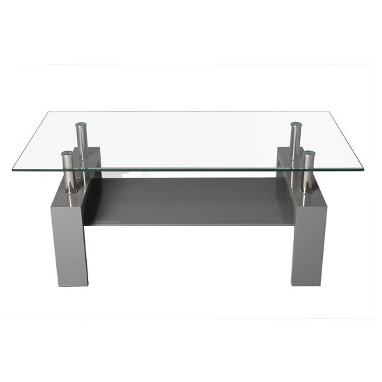 Willis Glass Coffee Table In Clear With Grey High Gloss Legs_2