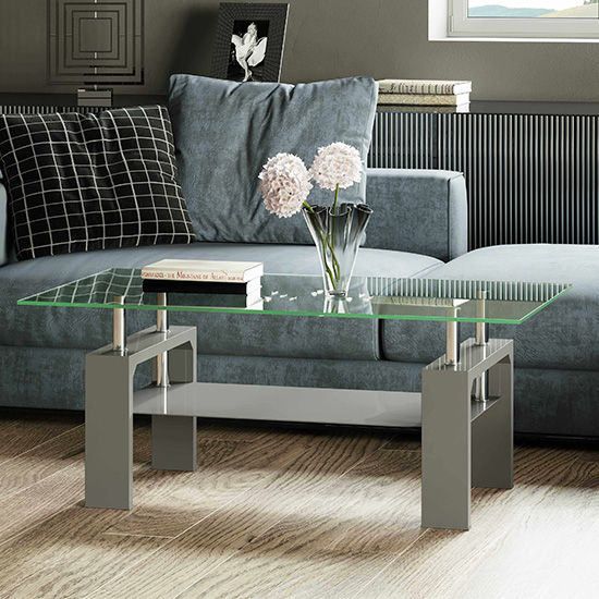 Willis Glass Coffee Table In Clear With Grey High Gloss Legs_1