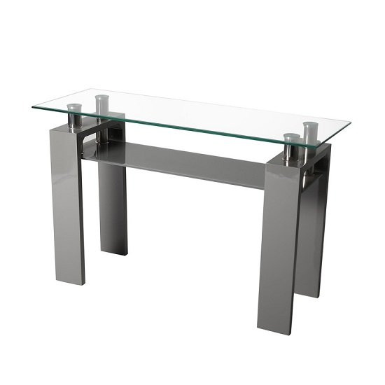 Willis Glass Console Table In Clear With Grey High Gloss Legs_2