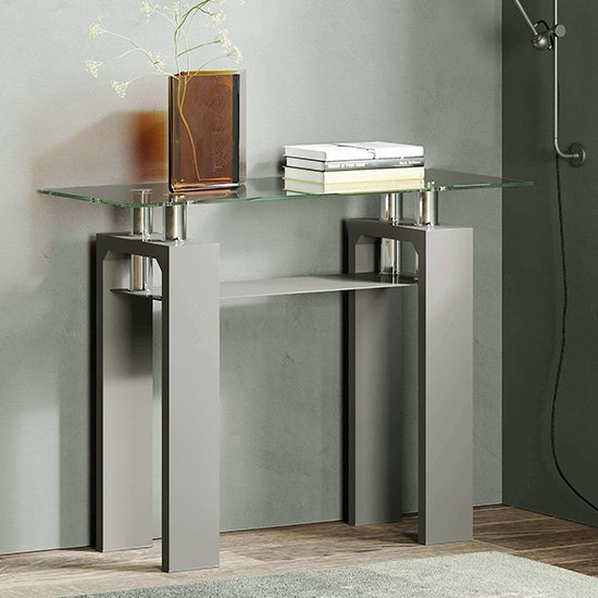 Willis Glass Console Table In Clear With Grey High Gloss Legs