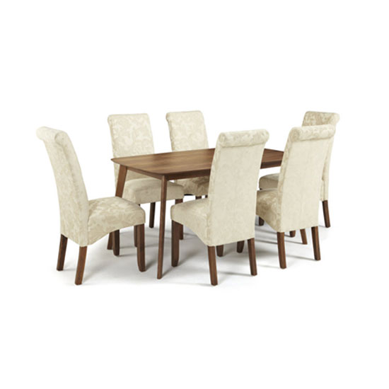 Ameera Dining Chair In Floral Cream Fabric And Walnut in A Pair_5
