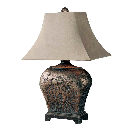 Olema Table Lamp In Brown Glaze With Taupe Gray