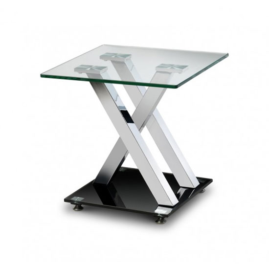 X Frame Square Shape Glass Lamp Table With Chrome Plated Steel