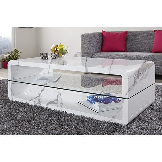 Xono Gloss Coffee Table With Shelf In Diva Marble Effect