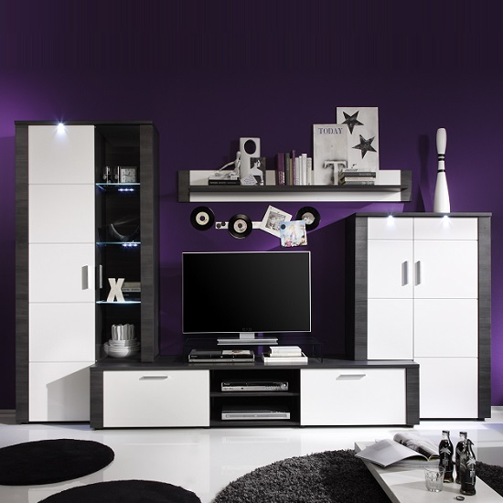 Lynton Wooden Living Room Set In Grey Ash White Fronts And LEDs_1