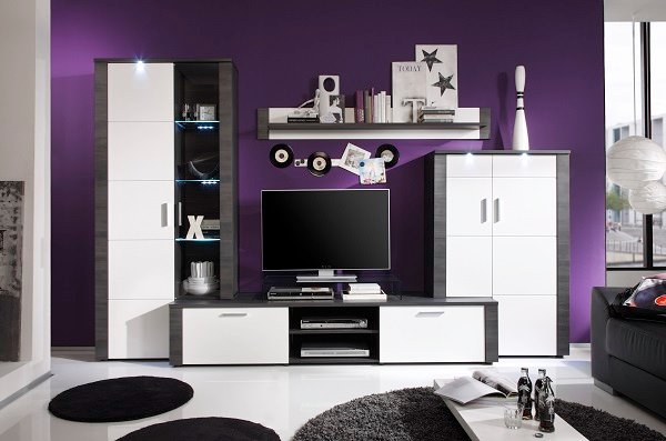 Lynton Wooden Living Room Set In Grey Ash White Fronts And LEDs_3