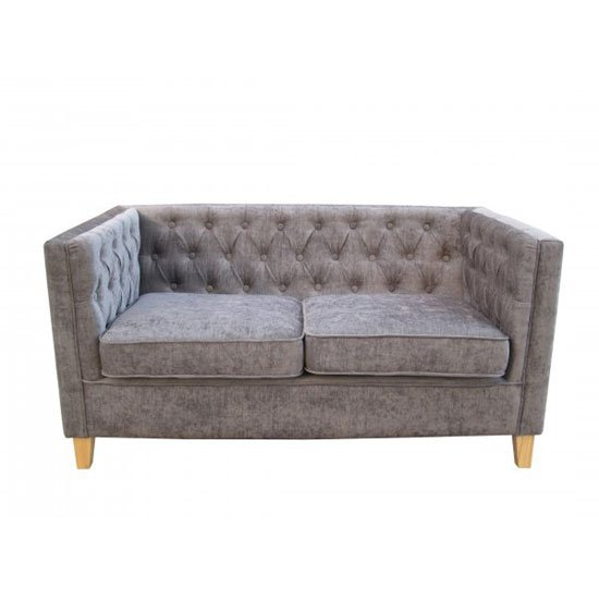 Yorick Contemporary Slate Grey Finish Chenille Style Fabric Sofa
