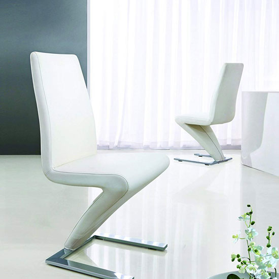Demi Z Dining Room Chair In White With Chrome Feet_1