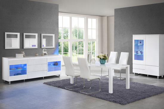 Zedan Display Cabinet In White Gloss With 2 Door And LED