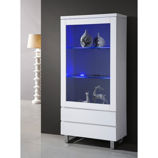 zedan glass display cabinet in white gloss with led light