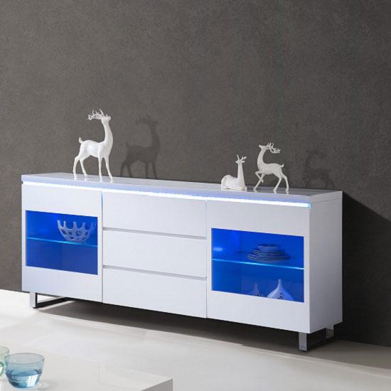 White Gloss Led Furniture: Zedan Sideboard In White High Gloss With LED Lights 23847 Fu