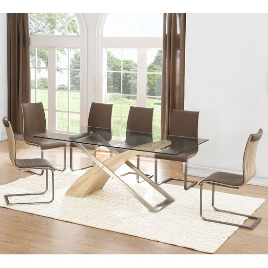 Zanti Dining Table In Clear Glass Top With 6 Dining Chairs