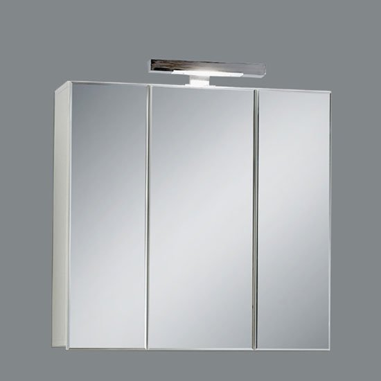 Zamora 3 Mirrored White Bathroom Cabinet With Halogen Lamp