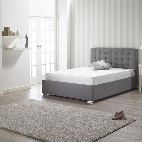 Humber Fabric King Size Bed In Grey With Chrome Feet