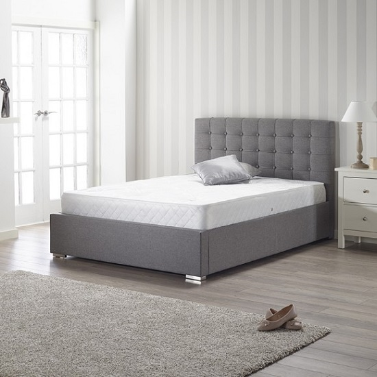 Humber Fabric Double Bed In Grey With Chrome Feet
