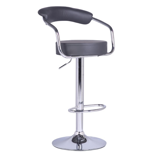 Zenith Bar Stool In Charcoal Grey Faux Leather With Chrome Base