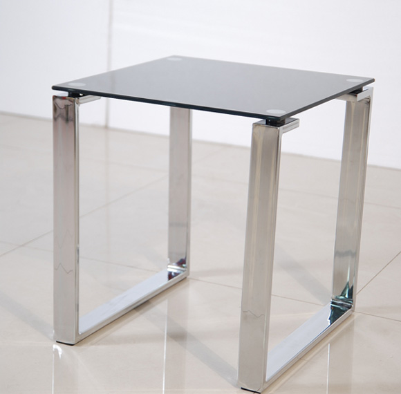 Zeus Side Lamp Table In Black Glass Top