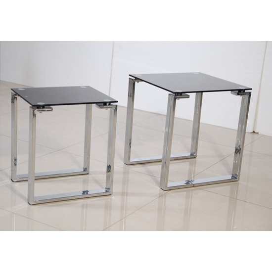 Black Glass And Chrome Nest Of Tables Shop For Cheap