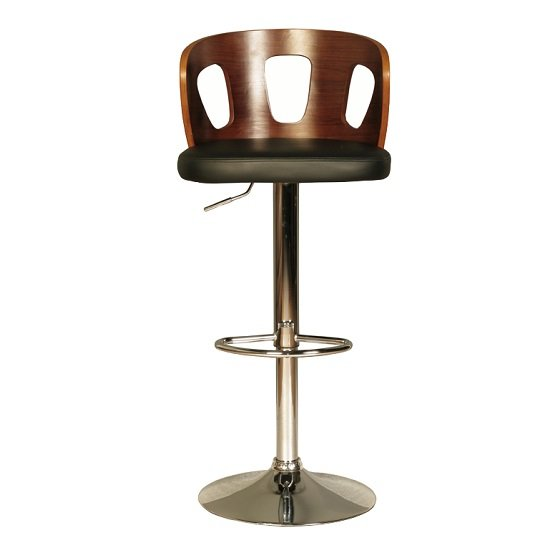 Hesket Bar Stool In Walnut And Black PU With Chrome Plated Base