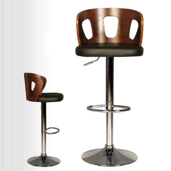 Hesket Bar Stool In Walnut And Black PU With Chrome Plated Base_2