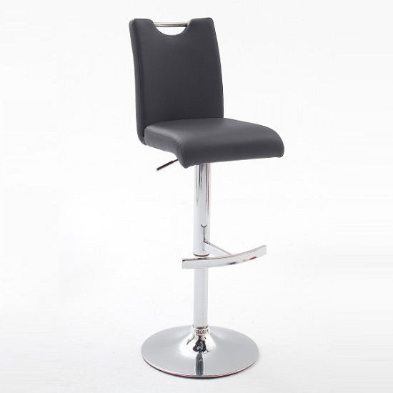 Aachen Black Faux Leather Seat Gas Lift Bar Stool