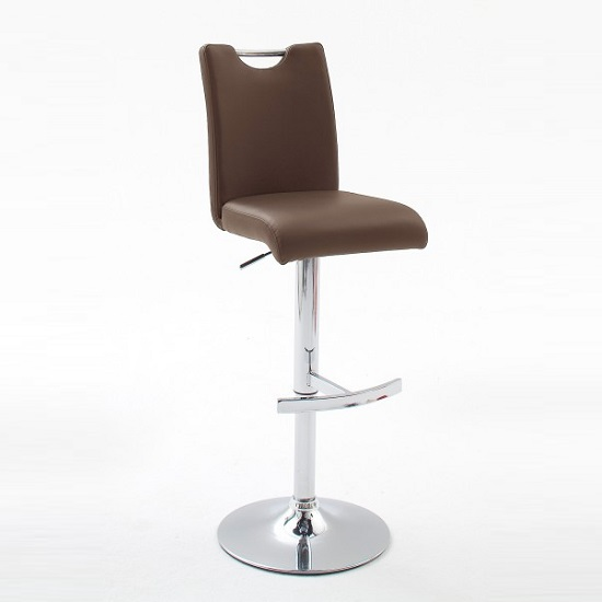 Aachen Brown Faux Leather Seat Gas Lift Bar Stool