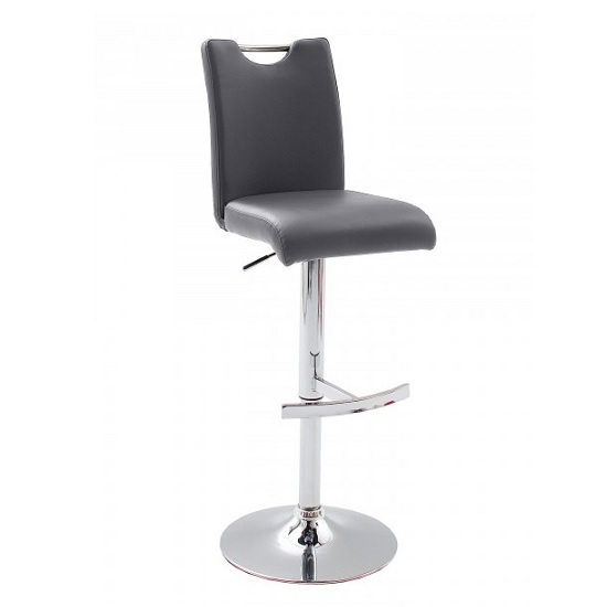 Aachen Bar Stool In Grey Faux Leather With Chrome Base_1